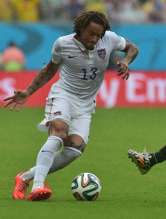 . US midfielder Jermaine Jones plays the ball during a Group G football match between US and Germany at the Pernambuco Arena in Recife during the 2014 FIFA World Cup on June 26, 2014. AFP PHOTO / NELSON  ALMEIDA/AFP/Getty Images