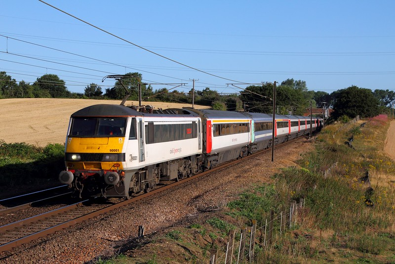 90001 on the 1P11 0650 Norwich to London Liverpool Street at Baylham on the 4th August 2015.JPG
