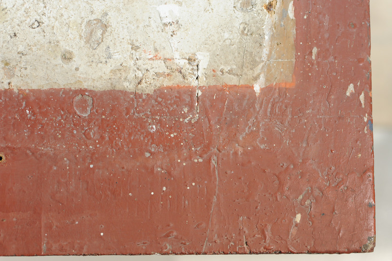 Vorzustand: Anna Altar, Predella, Ansicht von oben, linke obere vordere Ecke AAF_1005_27-10-2011