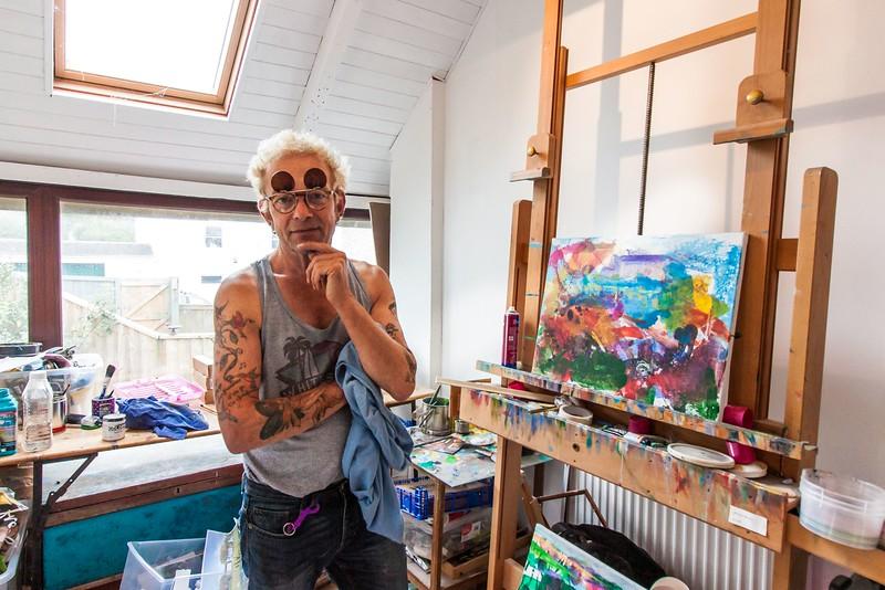Artist Grahame HurdWood; New Street Gallery Tenby. 1