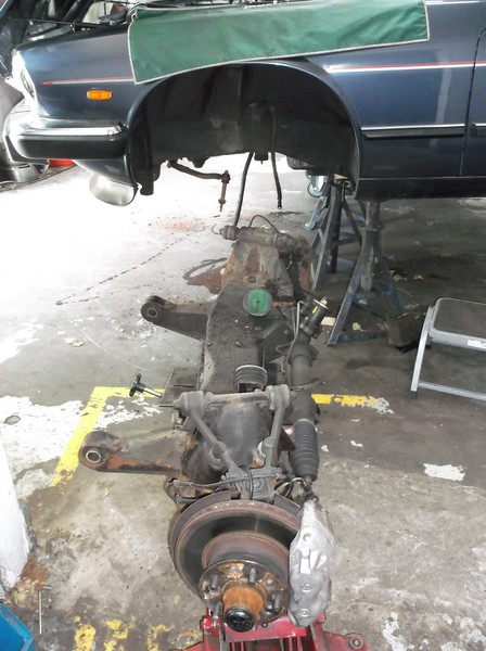 Front subframe removed from car.