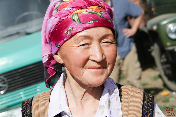 traditional Kyrgyz headpieces woman colorful scarf