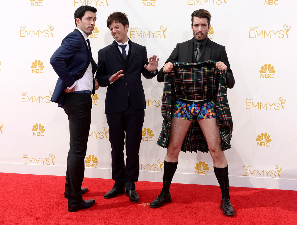 . J.D. Scott, Drew Scott  and Jonathan Silver Scott on the red carpet at the 66th Primetime Emmy Awards show at the Nokia Theatre in Los Angeles, California on Monday August 25, 2014. (Photo by John McCoy / Los Angeles Daily News)