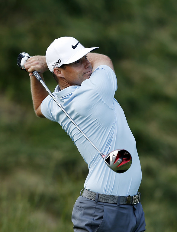 . Nick Watney of the United States hits his tee shot on the 18th hole during Round Two of the 113th U.S. Open at Merion Golf Club on June 14, 2013 in Ardmore, Pennsylvania.  (Photo by Scott Halleran/Getty Images)