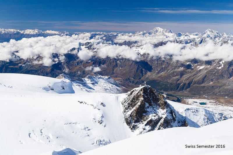 The view from the summit of Breithorn looking back into Italy and France (Mont Blanc is the mountain just to the right of center)