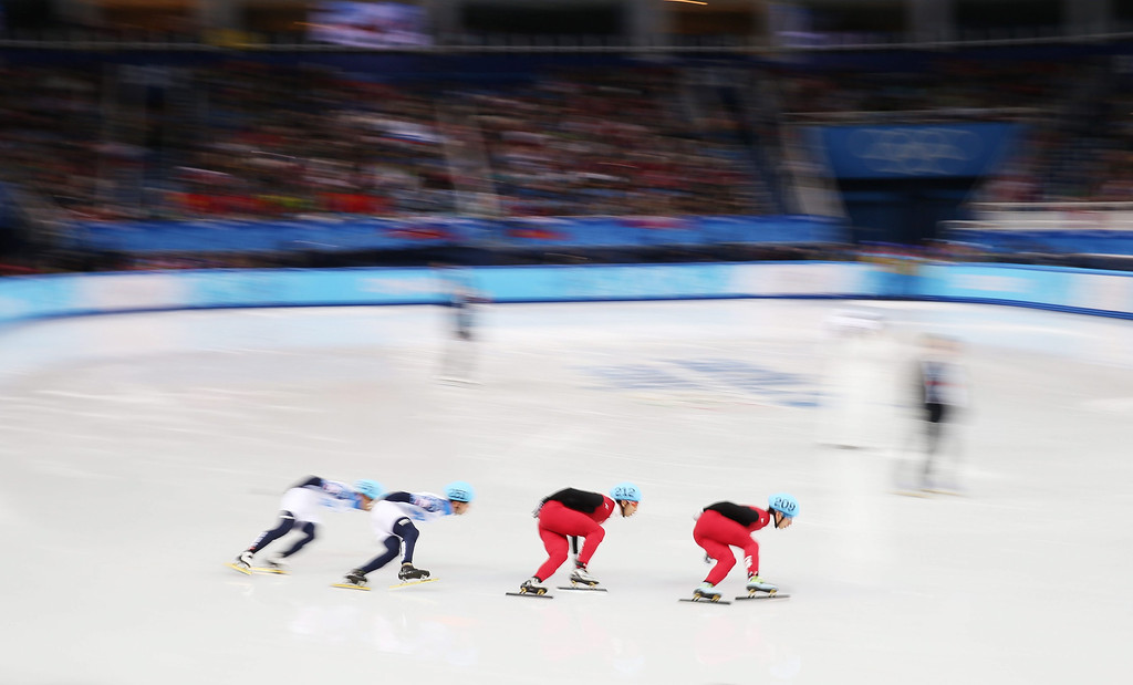 . Competitors in action in men\'s semi final 2 of the 1000m at the Short Track events in the Iceberg Skating Palace at the Sochi 2014 Olympic Games, Sochi, Russia, 15 February 2014.  EPA/TATYANA ZENKOVICH