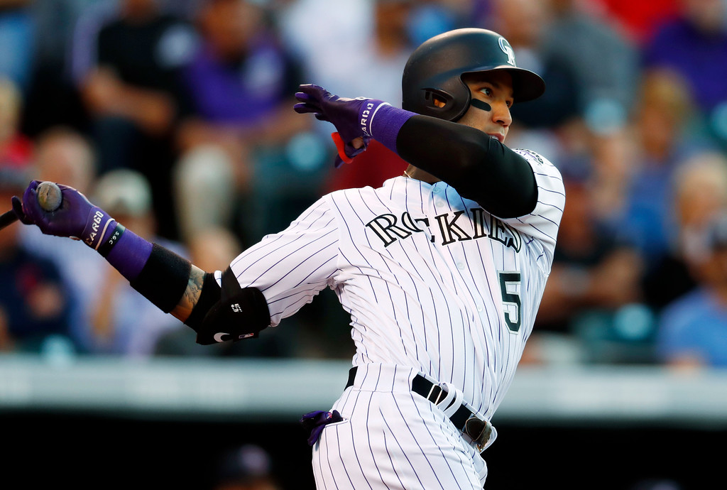 . Colorado Rockies\' Carlos Gonzalez follows the flight of his two-run home run off Cleveland Indians starting pitcher Mike Clevinger in the third inning of an interleague baseball game Tuesday, June 6, 2017, in Denver.(AP Photo/David Zalubowski)