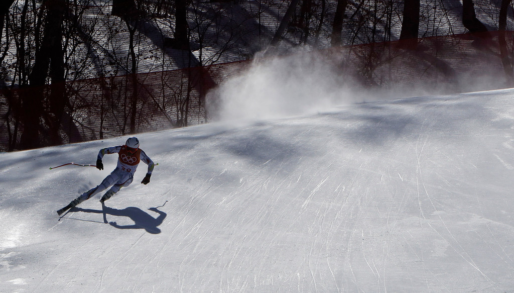 . Andorra\'s JoanVerdu skis during the downhill portion of the men\'s combined at the 2018 Winter Olympics in Jeongseon, South Korea, Tuesday, Feb. 13, 2018. (AP Photo/Michael Probst)