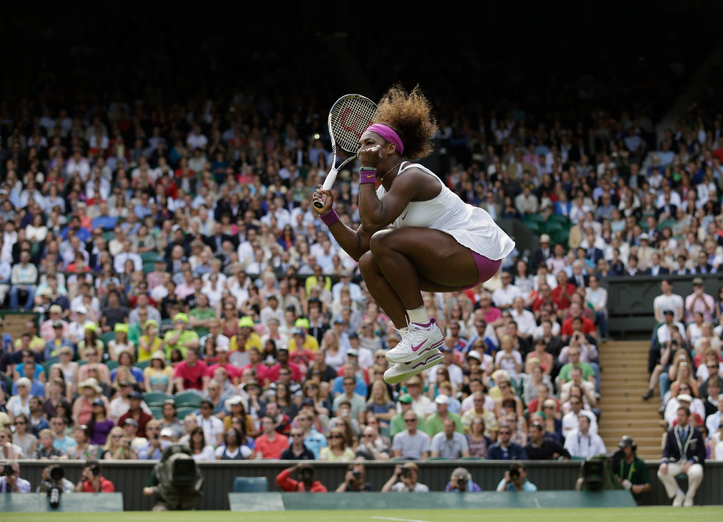 . In this Saturday, June 30, 2012 file photo made by Associated Press photographer Anja Niedringhaus,  Serena Williams of the United States reacts after winning against Zheng Jie of China during a third round women\'s singles match at the All England Lawn Tennis Championships at Wimbledon, England. (AP Photo/Anja Niedringhaus, File)
