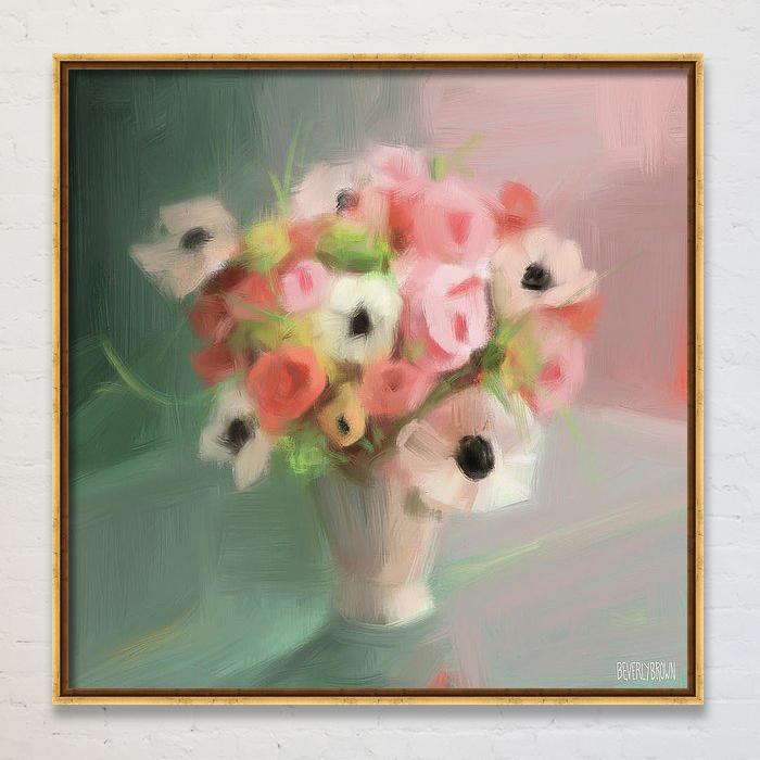 Pink Peonies & Poppies Modern Vintage Floral Wall Art Print by Beverly Brown