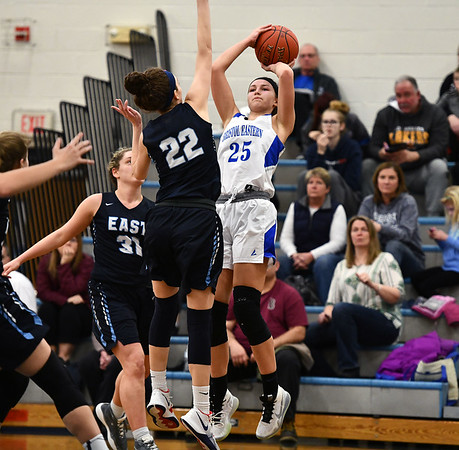 2/18/2020 Mike Orazzi | StaffrBristol Eastern's Sage Scarritt (25) during a 57-52 overtime win over East Catholic in Bristol Tuesday afternoon.
