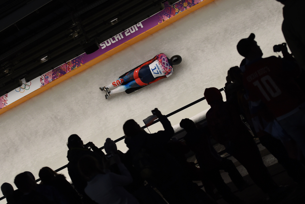 . Russia\'s Nikita Tregybov competes the Men\'s Skeleton Heat 3 at the Sanki Sliding Center in Rosa Khutor during the Sochi Winter Olympics on February 15, 2014. (LEON NEAL/AFP/Getty Images)