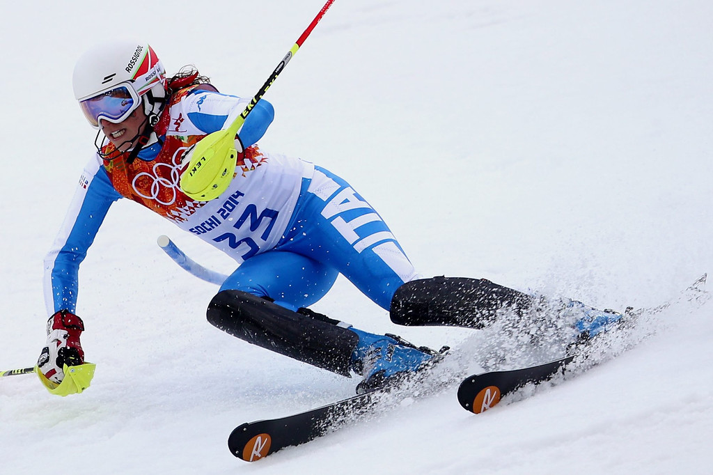 . Federica Brignone of Italy in action during the first run of the Women\'s Slalom race at the Rosa Khutor Alpine Center during the Sochi 2014 Olympic Games, Krasnaya Polyana, Russia, 21 February 2014.  EPA/KARL-JOSEF HILDENBRAND