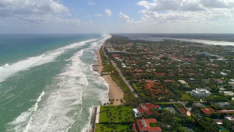 Aerial drone palm beach coastline 4k 60p