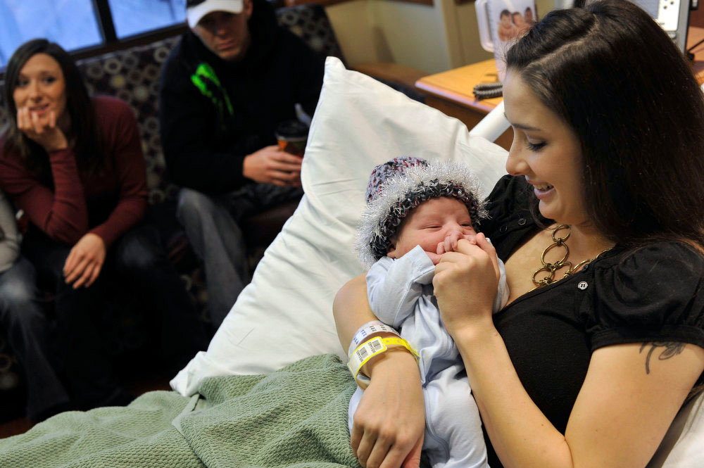 . Lyrik Robert Sky Hall-Demaree was born at 12:45 a.m. on January 1, making him the first baby of the new year in the Denver metro. The new parents, Shannon Hall and Forest Demaree of Arvada, spent some time with their son and other family members on Tuesday afternoon at Exempla Lutheran Medical Center in Wheat Ridge. Patrick Traylor, The Denver Post