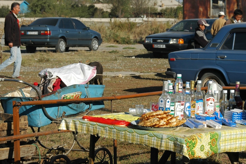 Vodka and Piroshki at Karakol Animal Market - Kyrgyzstan