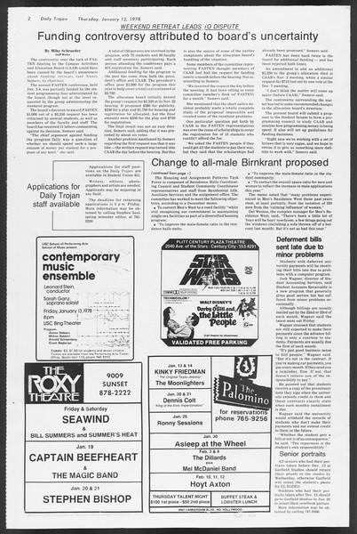 Daily Trojan, Vol. 72, No. 63, January 12, 1978