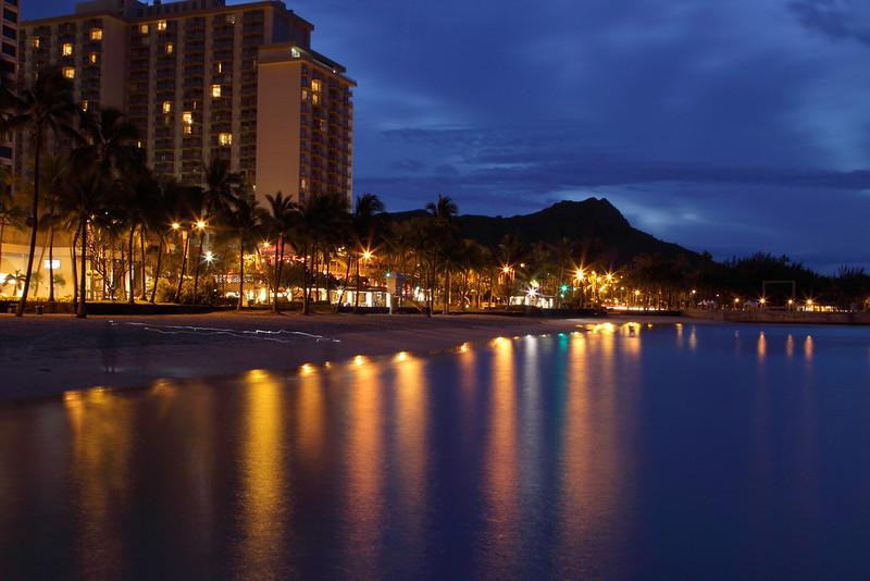 Sunrise on Waikiki Beach, Honolulu.