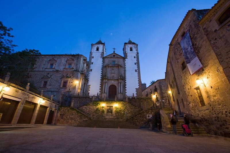 San Jorge square and San Francisco Javier church at dusk, Caceres, Spain