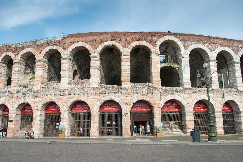 The Roman Ampitheatre facade in Verona, Italy