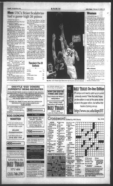 Daily Trojan, Vol. 142, No. 27, February 16, 2001