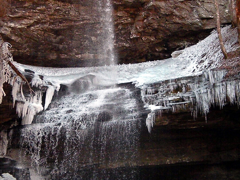 Close up of the icy ledge at the base.