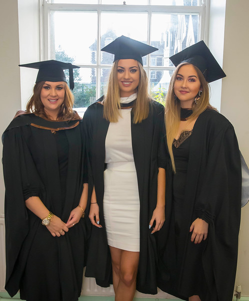 28/10/2015. Waterford Institute of Technology Conferring. Pictured are Judy Li, Roscrea, Clarissa O'Nualláin, Kilkenny, Louise Foley, Tipperary who Graduated BA (Hons) Social Care. Picture: Patrick Browne