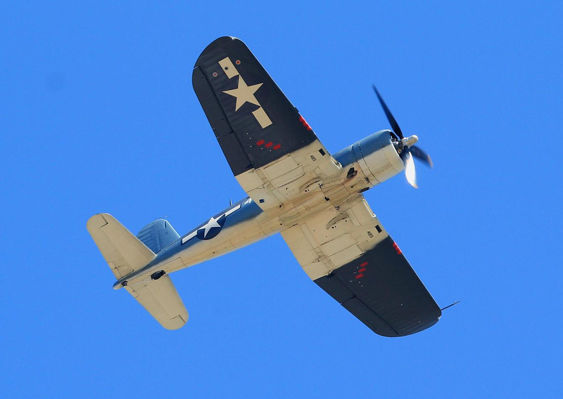 Navy/Marine F4U Corsair, made by Chance Vought. Some variants had a monstrous 2400 horsepower. As a child I lived only 1 mile from the plant in Grand Prairie, Texas where they were made. Both of my parents worked there in the 1950's.