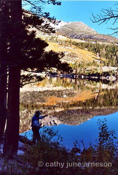 Armando fishing Friday morning at Rock Creek Lake, CA.