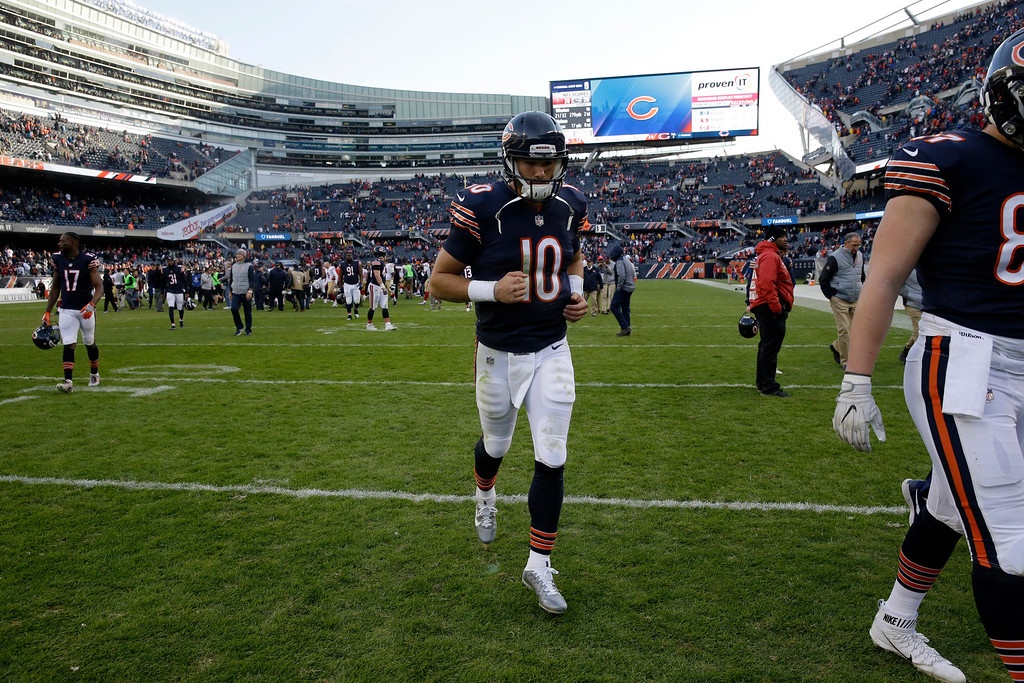. Chicago Bears quarterback Mitchell Trubisky (10) walks off the field after an NFL football game against the San Francisco 49ers, Sunday, Dec. 3, 2017, in Chicago. The 49ers won 15-14. (AP Photo/Nam Y. Huh)