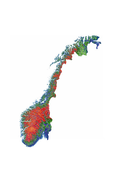 Elevation map of Norway