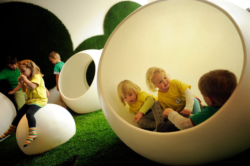 . in Denver, Colo., on Thursday, April 5, 2012.The Museum of Contemporary Art Denver added a new immersive family and children�s play-and-art-making space in the Fox Family Idea Box. Architect Paul Andersen of !ndie Architecture created The Bubble Garden, an otherworldly landscape of large plastic spheres synthetic turf. Hyoung Chang, The Denver Post