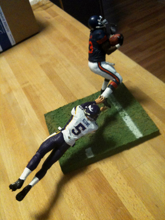 . An action figure shows a re-creation of Minnesota Vikings punter Chris Kluwe\'s missed tackle on Chicago\'s Devin Hester in December 2006. A friend of Kluwe\'s gave it to him as a Christmas gift. The action figure is a one-off made by a friend who works with Todd McFarlane toys. (Photo courtesy of Chris Kluwe)