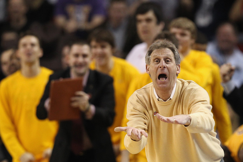 . Head coach Larry Shyatt of the Wyoming Cowboys directs his team during the second round of the 2015 Men\'s NCAA Basketball Tournament at KeyArena on March 20, 2015 in Seattle, Washington.  (Photo by Ezra Shaw/Getty Images)