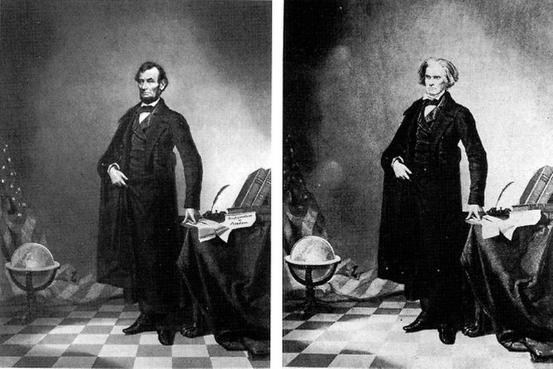 . circa 1860:  This nearly iconic portrait of U.S. President Abraham Lincoln is a composite of Lincoln\'s head and the Southern politician John Calhoun\'s body. Putting the date of this image into context, note that the first permanent photographic image was created in 1826 and the Eastman Dry Plate Company (later to become Eastman Kodak) was created in 1881.   SOURCE: http://www.cs.dartmouth.edu/farid/research/digitaltampering/