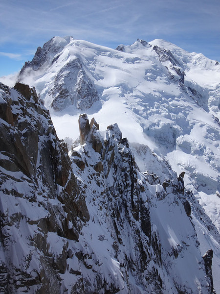 This shows the 3 Monts route to the summit of Mt Blanc visible in the background. At 4,807 m this is Europe's highest peak. With the assistance of a guide I managed to stagger to the top a few years ago - see here for the pics!