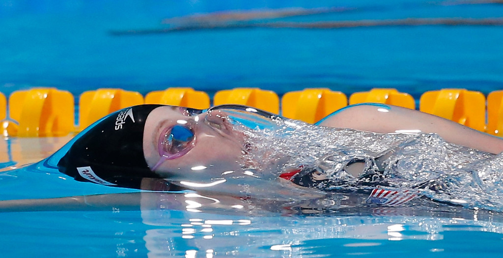 . Missy Franklin of the United States swims to the gold medal in the Women\'s 200m backstroke final at the FINA Swimming World Championships in Barcelona, Spain, Saturday, Aug. 3, 2013. (AP Photo/Daniel Ochoa de Olza)