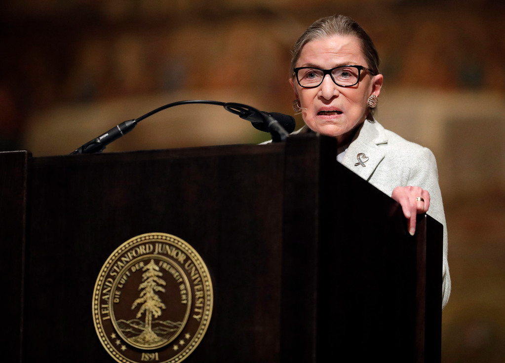 . U.S. Supreme Court Justice Ruth Bader Ginsburg speaks during a visit to Stanford University, Monday, Feb. 6, 2017, in Stanford, Calif. (AP Photo/Marcio Jose Sanchez)