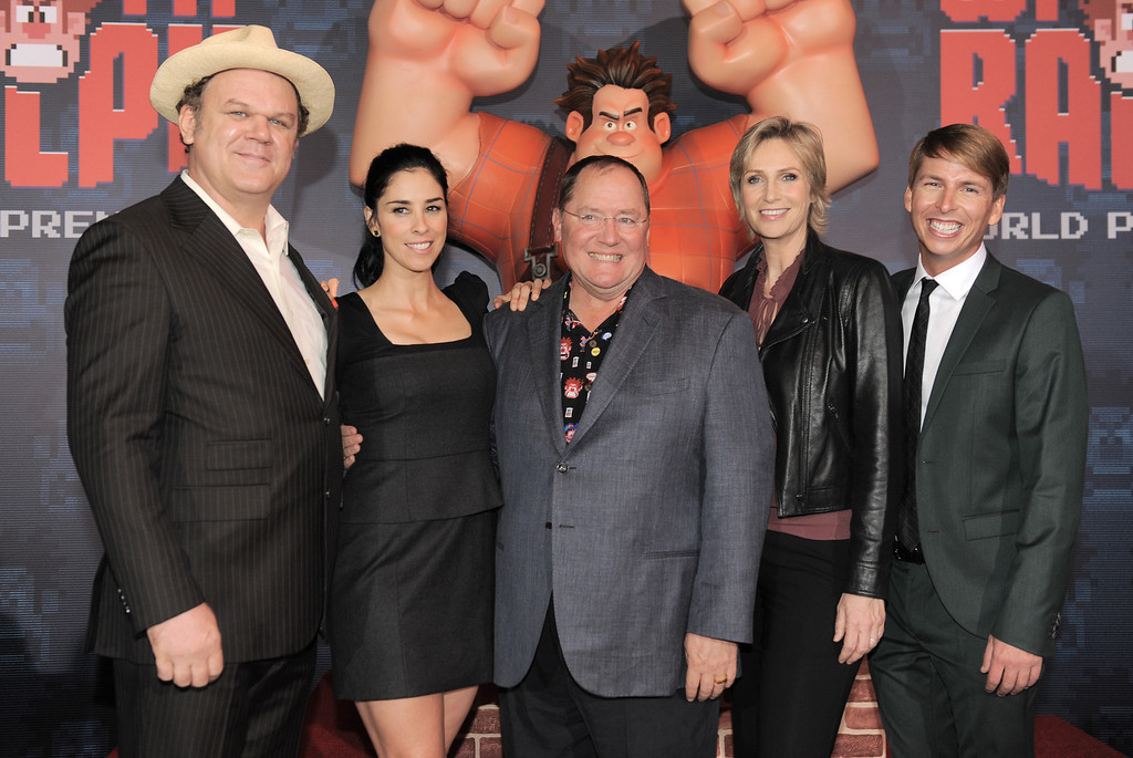 """. From left, John C. Reilly, Sarah Silverman, John Lasseter, Jane Lynch and Jack McBrayer arrive at the world premiere of \""""Wreck-It Ralph\"""" at El Capitan Theatre on Monday, Oct. 29, 2012, in Los Angeles. (Photo by Jordan Strauss/Invision/AP)"""