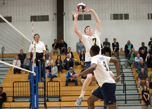 06/04/18 Wesley Bunnell | Staff Newington volleyball defeated South Windsor 3-0 in a game played at Glastonbury High School on Monday evening. Daniel Cloutier (7) and Alessandro DiPaola (9).