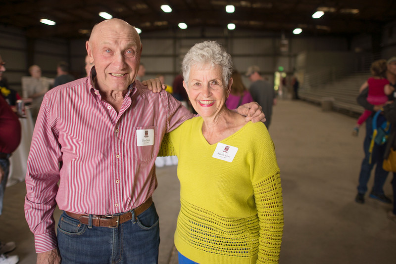 Don Simic (left) and Alberta Simic (right) enjoy the Alumni Spring Barbecue that is held at the University Farm on Thursday, April 27, 2017, in Chico, Calif.  (Jessica Bartlett/ Photographer)