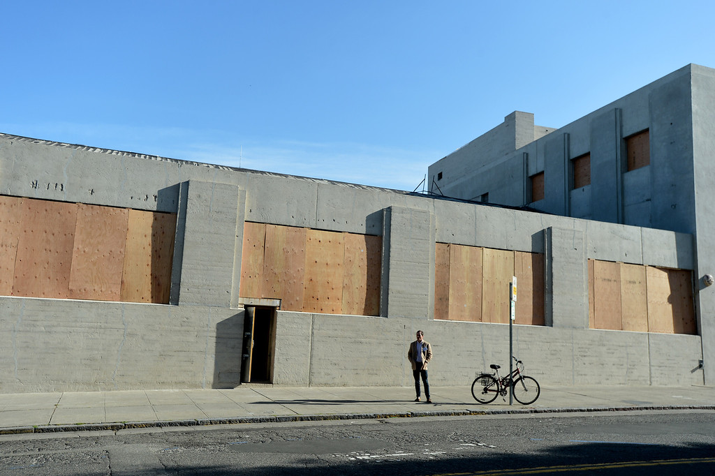 . Plywood covers windows of what will be part of the new Berkeley Art Museum/Pacific Film Archive in Berkeley, Calif. on Tuesday, April 30, 2013. (Kristopher Skinner/Bay Area News Group)