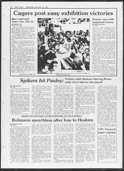 Daily Trojan, Vol. 91, No. 55, November 18, 1981