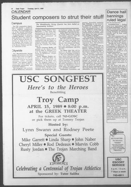 Daily Trojan, Vol. 108, No. 50, April 04, 1989