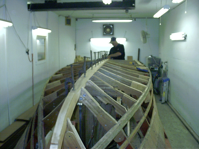 Front view of new keel being fit.