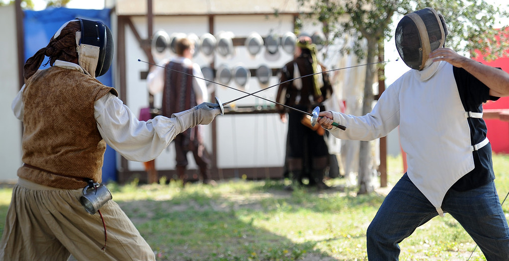 . Fencing lessons on opening day of the Renaissance Pleasure Faire at Santa Fe Dam Recreation Area in Irwindale, Calif., on Saturday, April 5, 2014. 