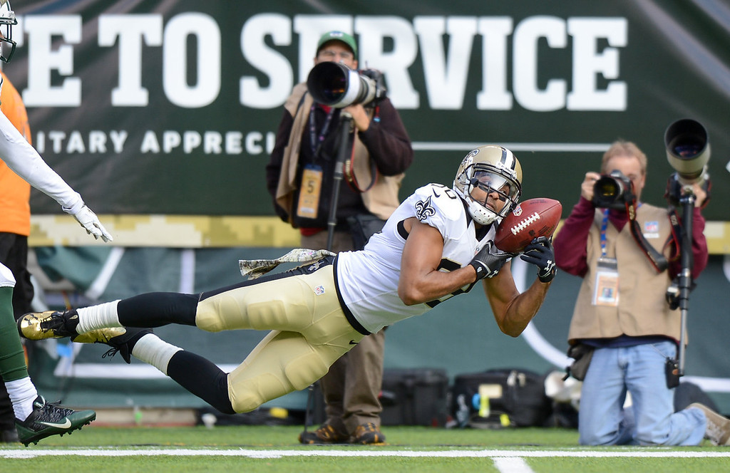 . Wide receiver Nick Toon #88 of the New Orleans Saints dives but drops the catch in the 1st quarter against the New York Jets at MetLife Stadium on November 3, 2013 in East Rutherford, New Jersey. (Photo by Ron Antonelli/Getty Images)