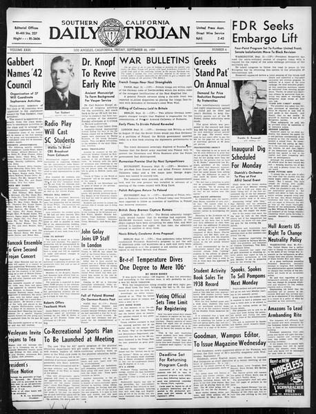 Daily Trojan, Vol. 31, No. 6, September 22, 1939