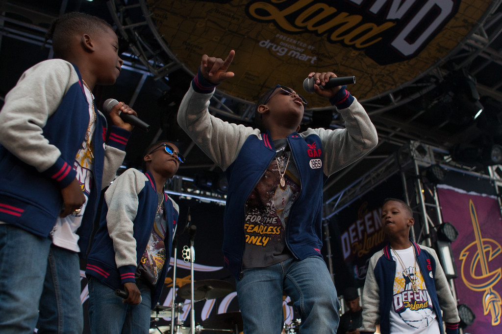 . \'The Turn Up Kids\' perform during the Cavs Fan Fest before game 4 of the NBA Finals at the Quicken Loans Arena on June 9, 2017.