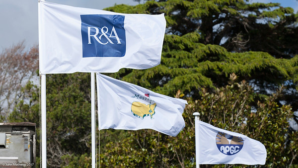 Flags of the R&A and the Masters flying at the Royal Wellington Golf Club immediately prior to the hosting of the Asia-Pacific Amateur Championship tournament 2017 held in Heretaunga, Upper Hutt, New Zealand from 26 - 29 October 2017. Copyright John Mathews 2017.   www.megasportmedia.co.nz